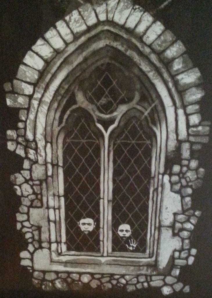 Artist's black and white rendition of two small boys at a window in the Tower of London
