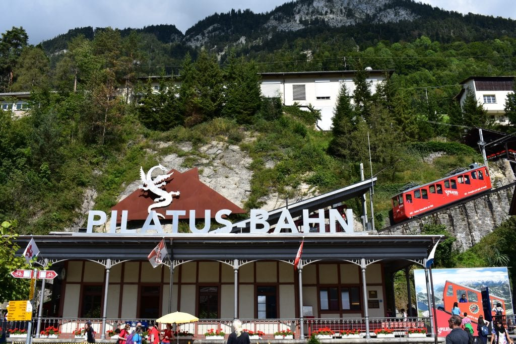 red cogwheel train Pilatusbahn