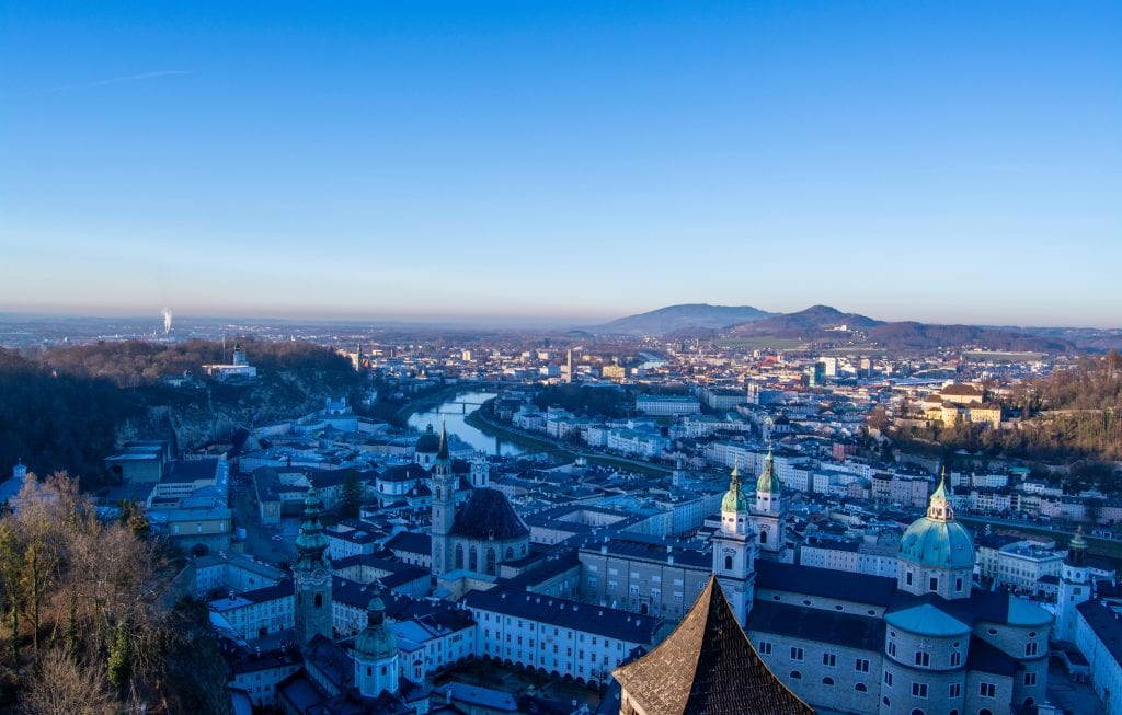 city view of Salzburg at sunset