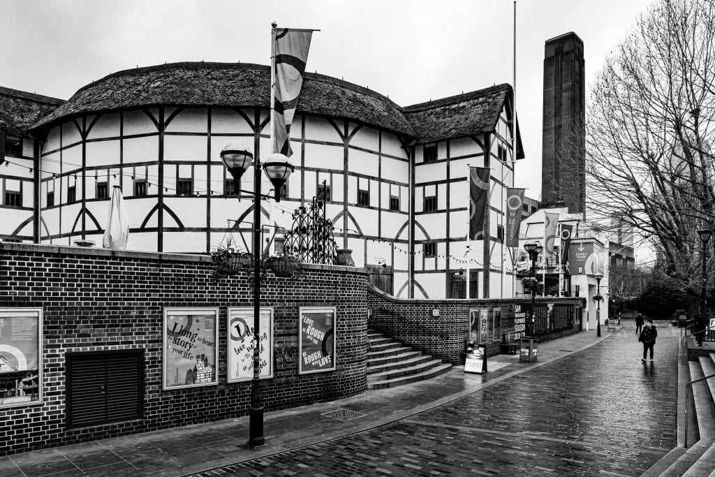 Shakespeare's Globe Theatre on the south bank of the Thames in Southwark area