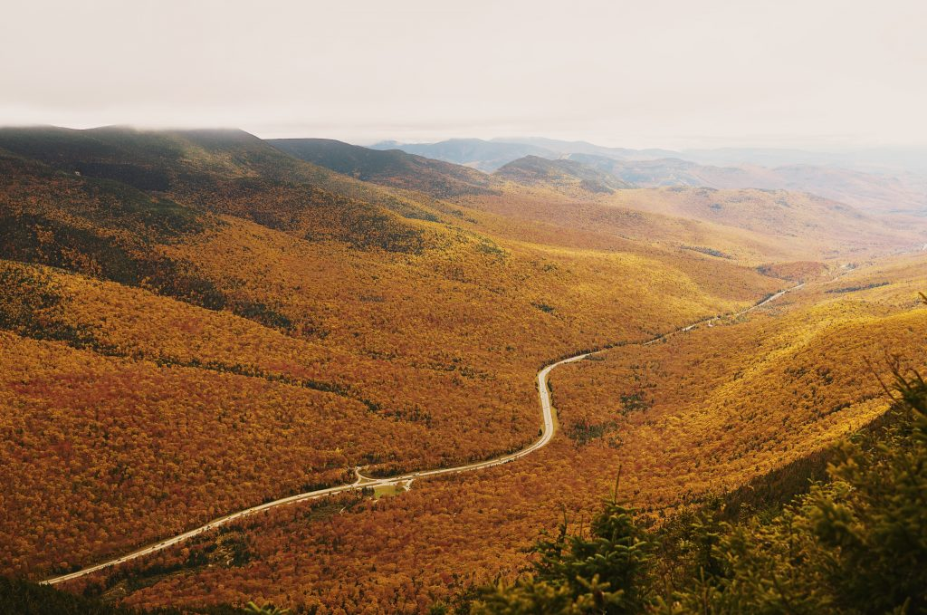 orange mountain valley on Appalachian Trail in New Hampshire