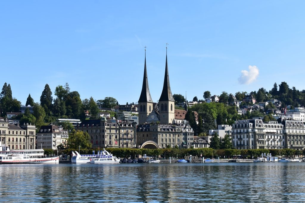 Lake Lucerne with church and buildings