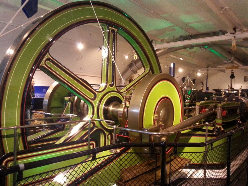 green metal engine in museum
