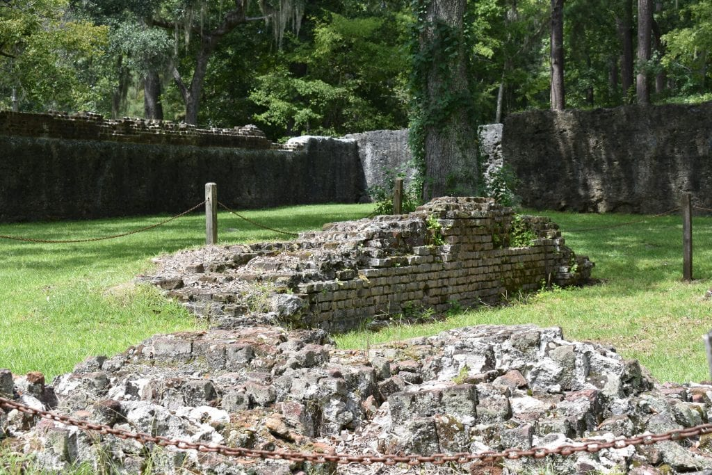 ruins of brick powder magazine from historic tabby walled-fort