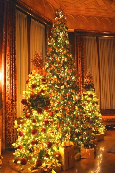 three christmas trees lit at night in the Biltmore breakfast room