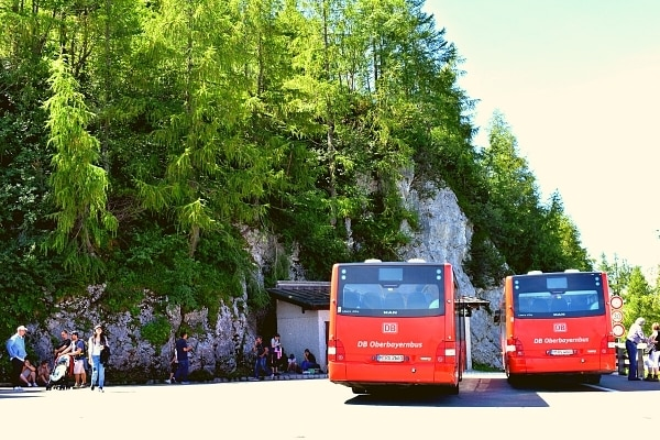 Red buses waiting on Eagle's Nest mountainside