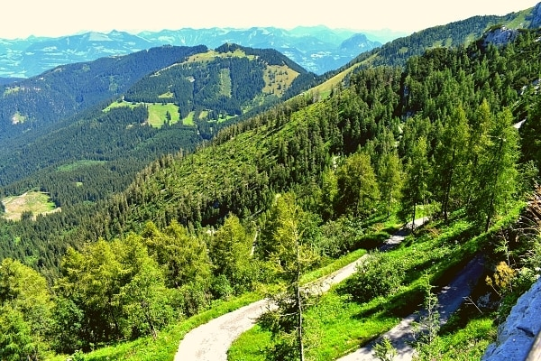Green mountainside with winding roads