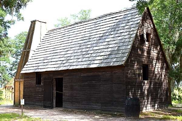 Wooden replica building of a Charles Town settlement house