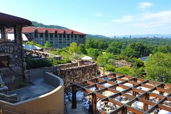 Grove Park Inn terrace view of downtown Asheville