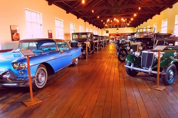 Antique car museum main hall with cars from Model T to the thunderbird