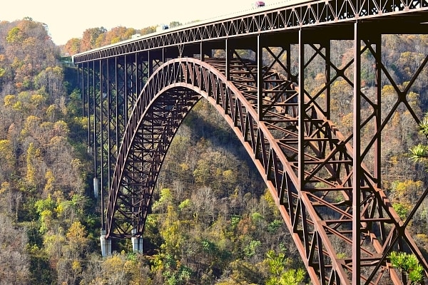 New River Gorge steel arch bridge spans across the New River in West Virginia
