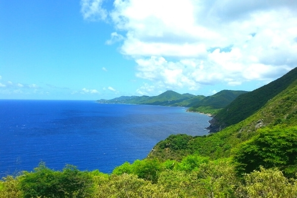Deep blue ocean and green mountainous cliffs of north shore of St Croix
