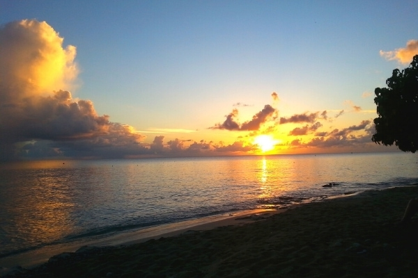 sun setting over the ocean on the west coast of St Croix near Frederiksted