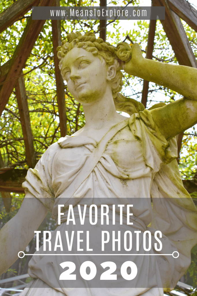 Favorite Travel Photos of 2020, featuring a statue of the goddess Diana