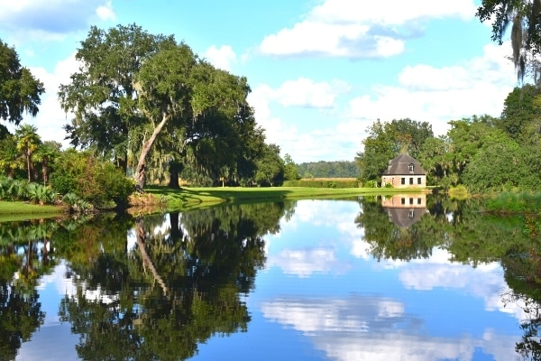 mill pond reflecting the green trees and sky and mill house at Middleton Place