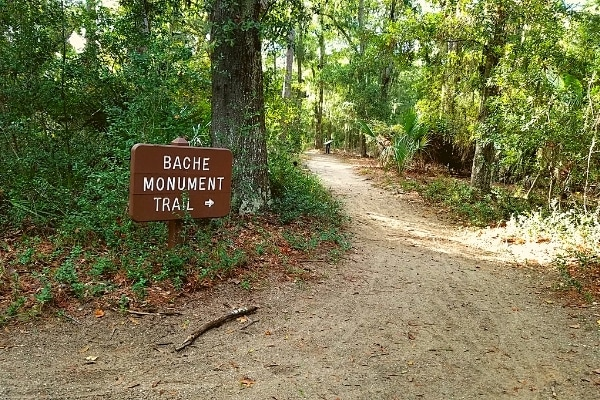 Brown trail sign points the way to a sandy trail to the Bache Monument through a forest