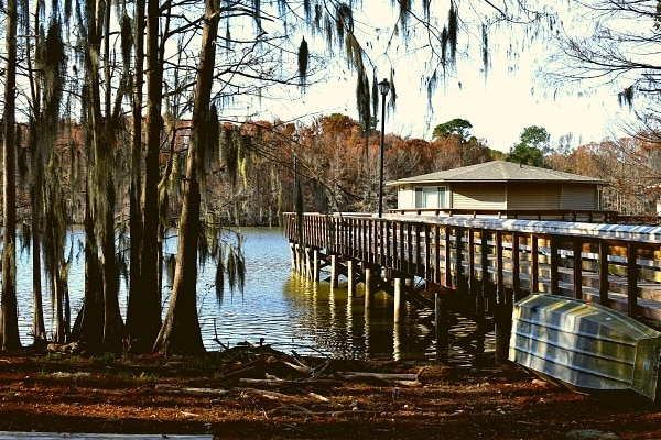Cypress trees draped in Spanish moss tower over a pier cabin built over Lake Marion at Santee State Park
