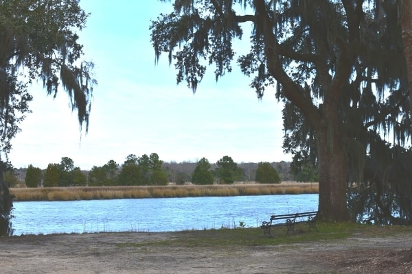 An empty bench shaded by oak trees covered in Spanish moss overlooks the Ashley River from the Drayton Hall Plantation near Charleston, SC