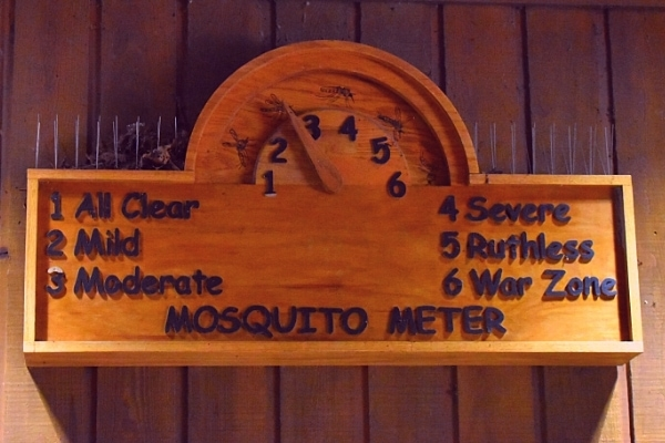 Humorous but helpful wooden mosquito meter sign at Congaree National Park's visitor center indicating the severity level of the number of mosquitoes currently active in the park