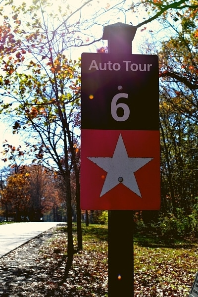 Gettysburg Self-Guided Driving Tour Auto Tour Stop 6 sign, marked with a white star on a red background