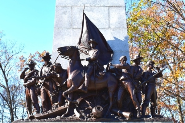 Bronze statues of Virginia soliders on granite base at Gettysburg Battlefield