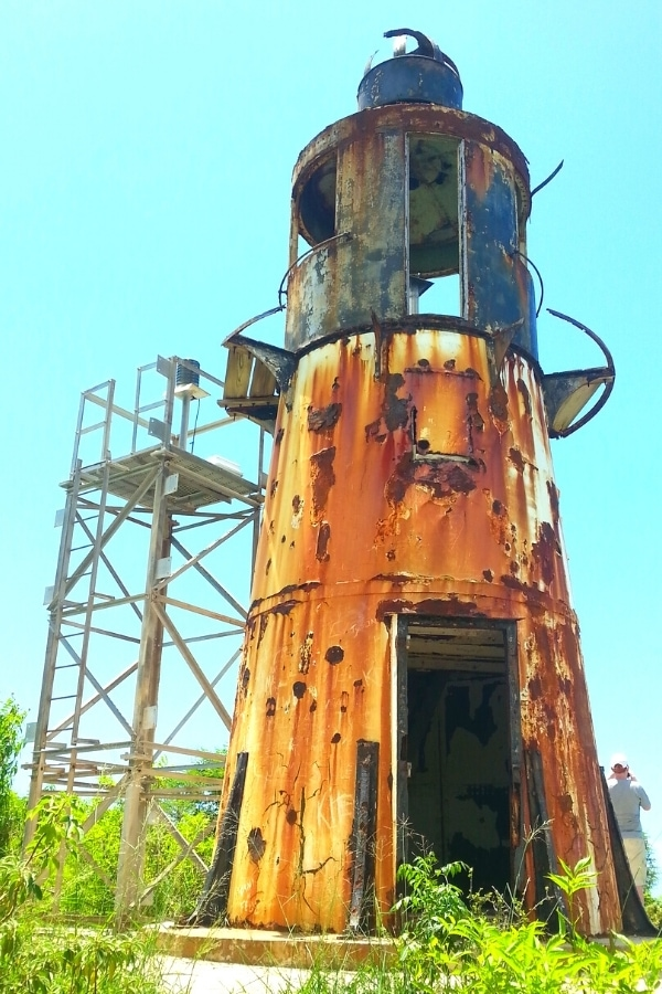 Rusting metal former Hams Bluff Lighthouse on St Croix, US Virgin Islands