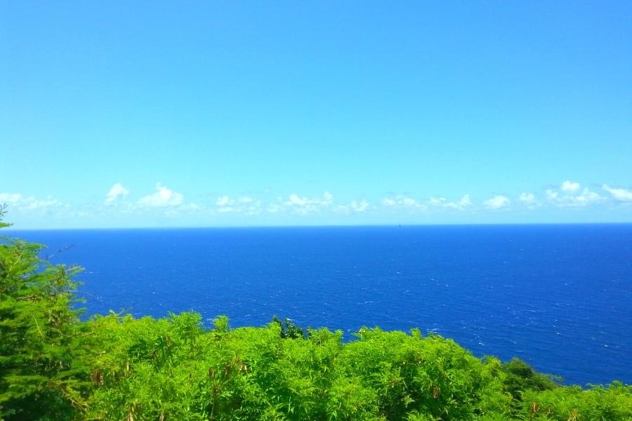 Deep blue Caribbean Sea under a light blue sky as seen from the green cliffs of St Croix