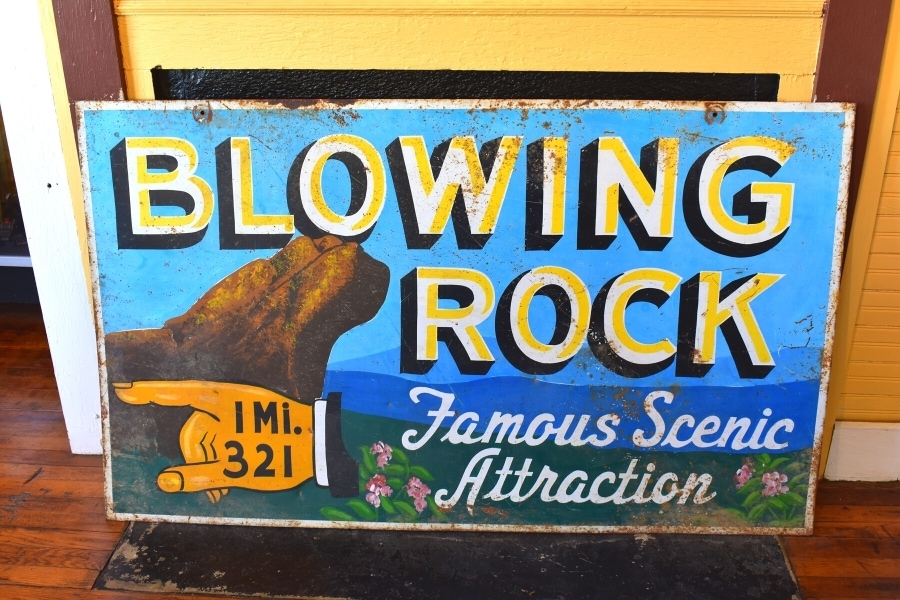 Historic tourist attraction sign in the museum at Blowing Rock