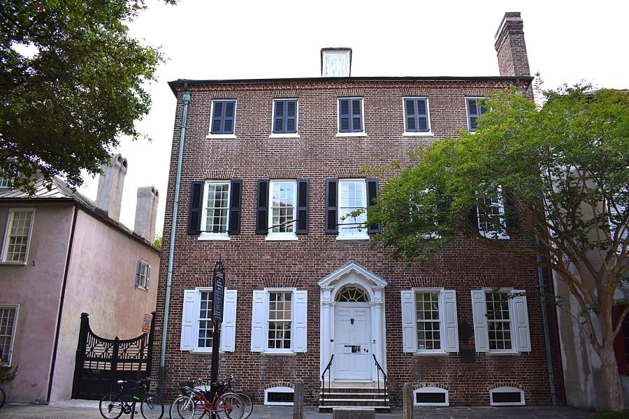 Brick three story historic building in Charleston