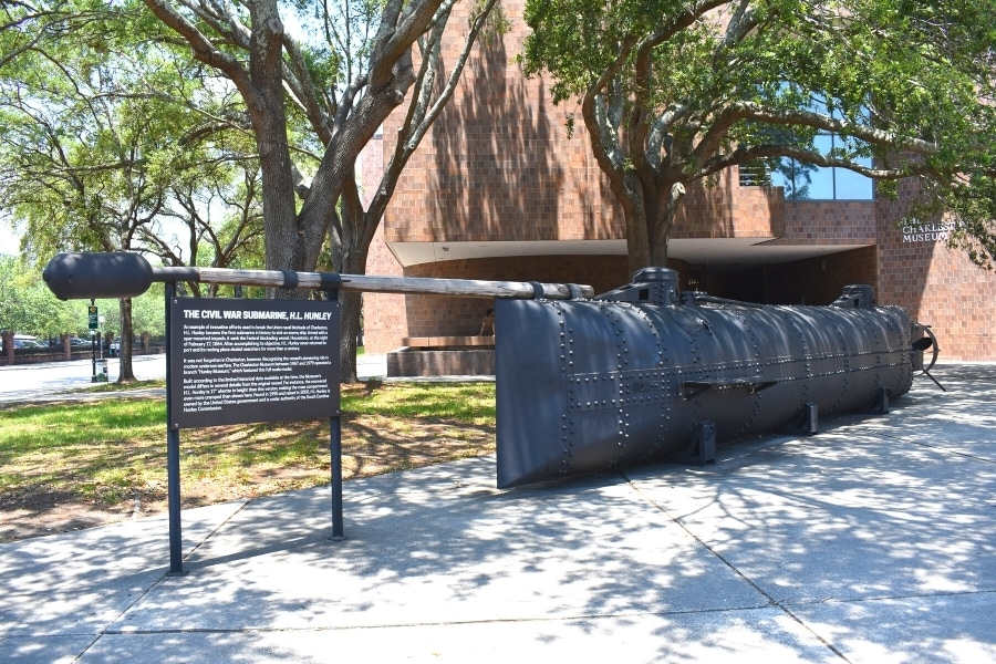 A metal replica of the H.L. Hunley Civil War submarine sits outside of the Charleston Museum