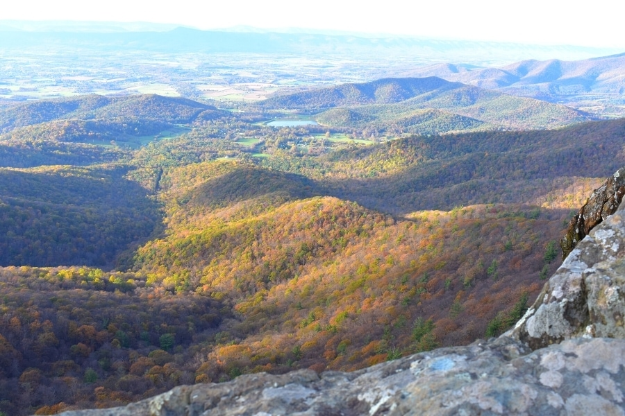 Late fall color carpets the mountains as seen from the cliffs of the Little Stony Man trail