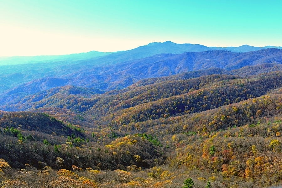 The Blue Ridge Mountains as seen from the Blowing Rock in late fall