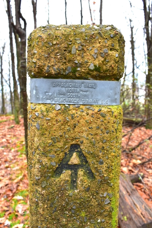 Concrete rectangular trail marker with AT stamp for Appalachian Trail