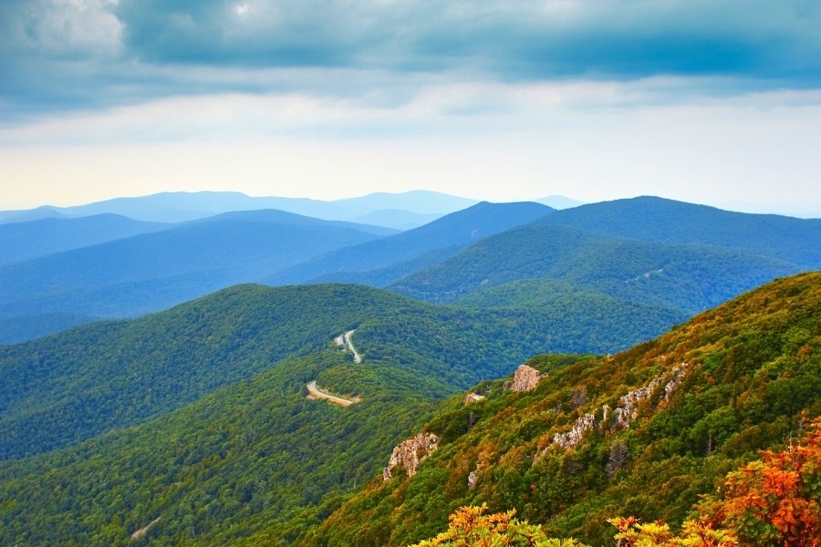 Beginnings of fall color in the Blue Ridge Mountains as seen from the Stony Man Summit viewpoint